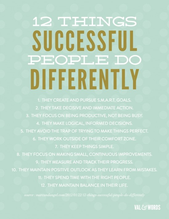 12 things successful people do differenct