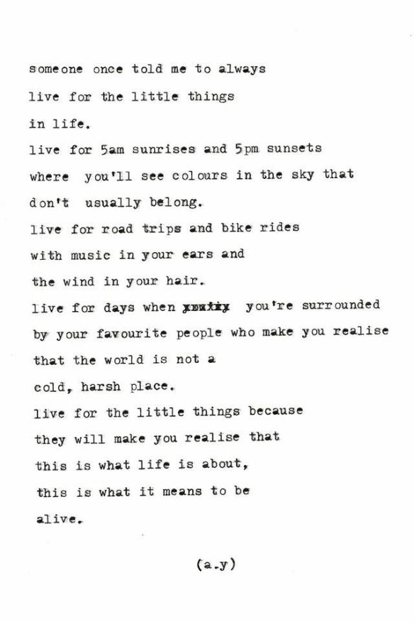 Live for the little things